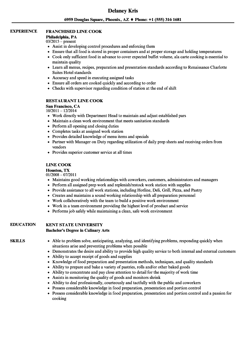 Line Cook Resume Samples | Velvet Jobs