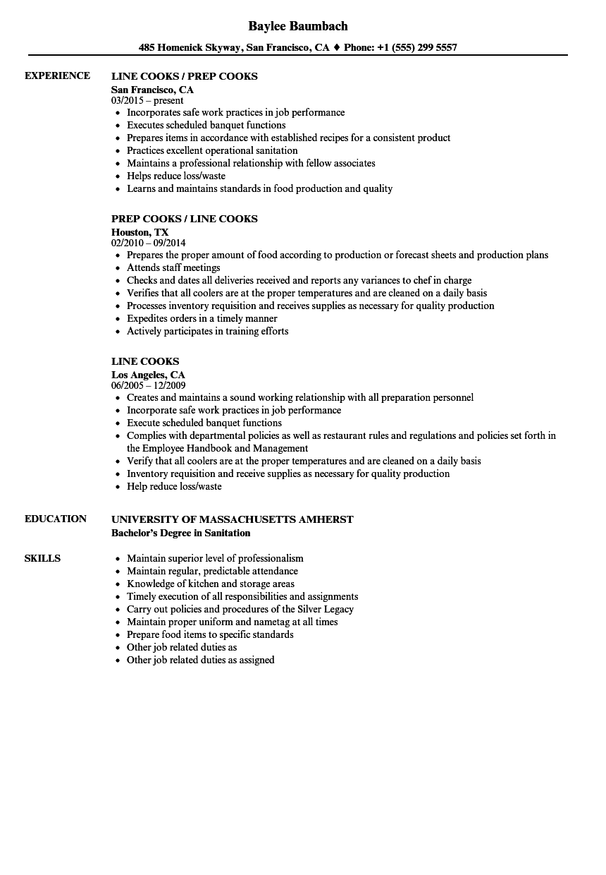 line cooks resume samples