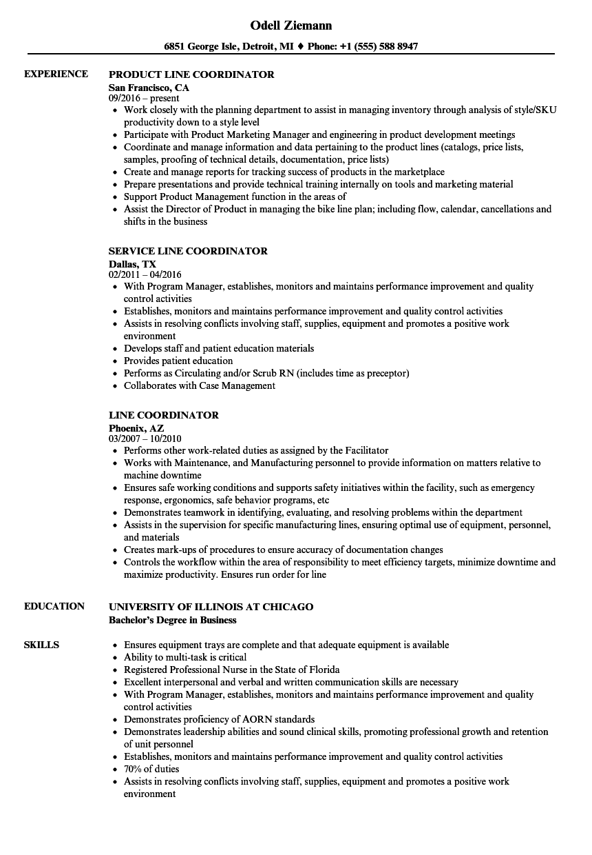 line coordinator resume samples