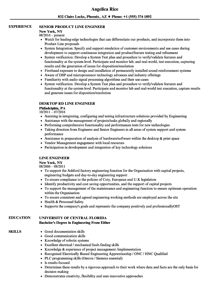 Line Engineer Resume Samples