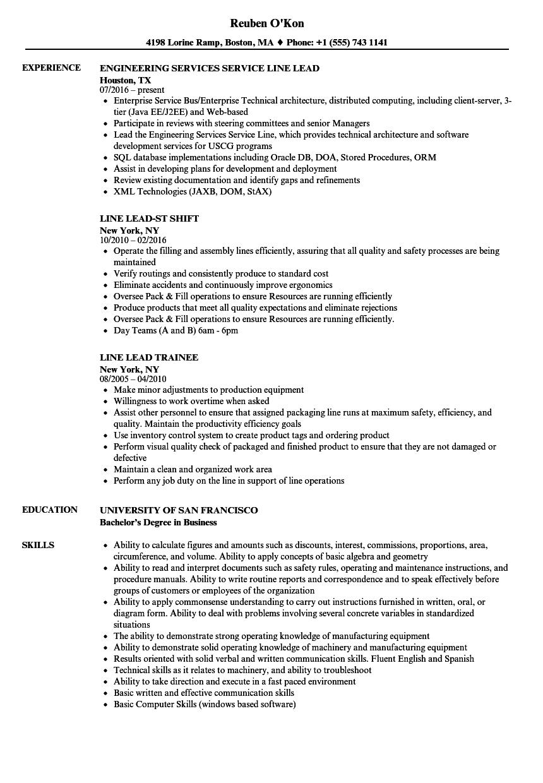 line lead resume samples