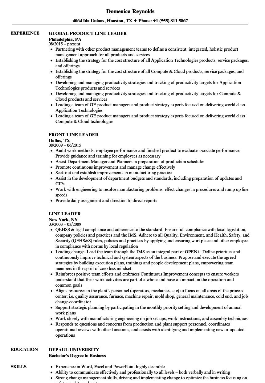 Download Line Leader Resume Sample As Image File