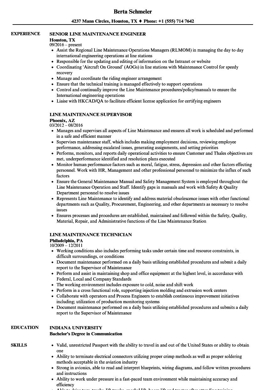 Line Maintenance Resume Samples Velvet Jobs