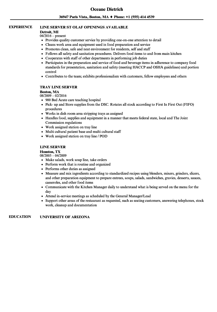 Line Server Resume Samples | Velvet Jobs