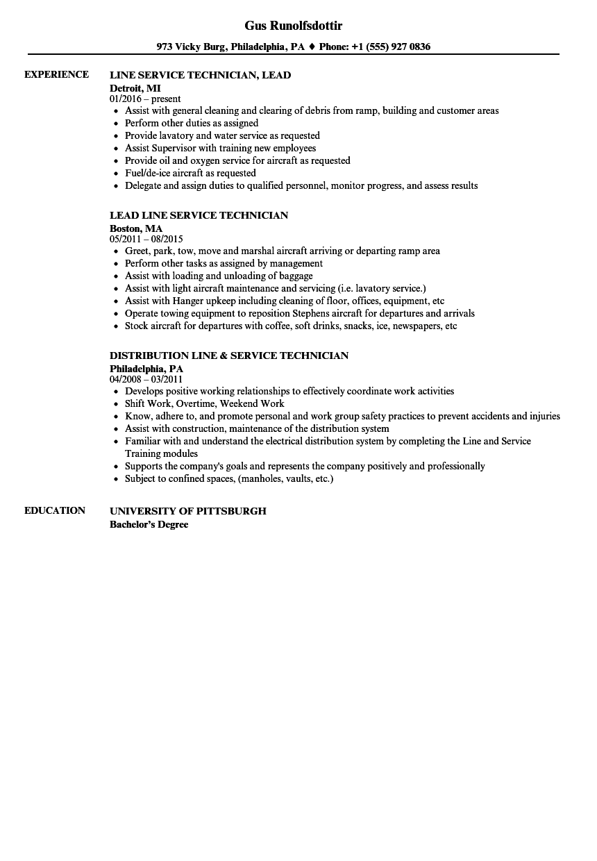 Line Service Technician Resume Samples | Velvet Jobs