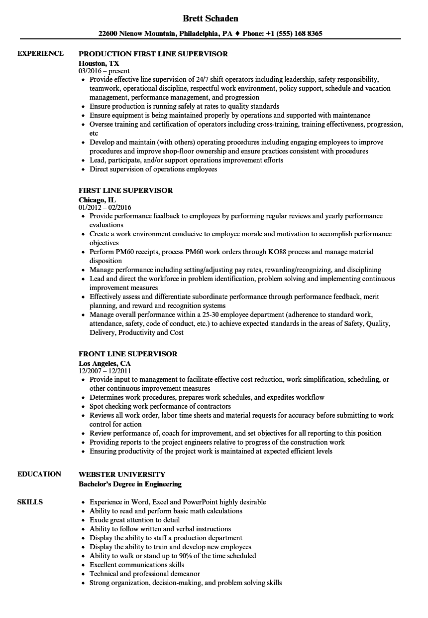 Line Supervisor Resume Samples Velvet Jobs