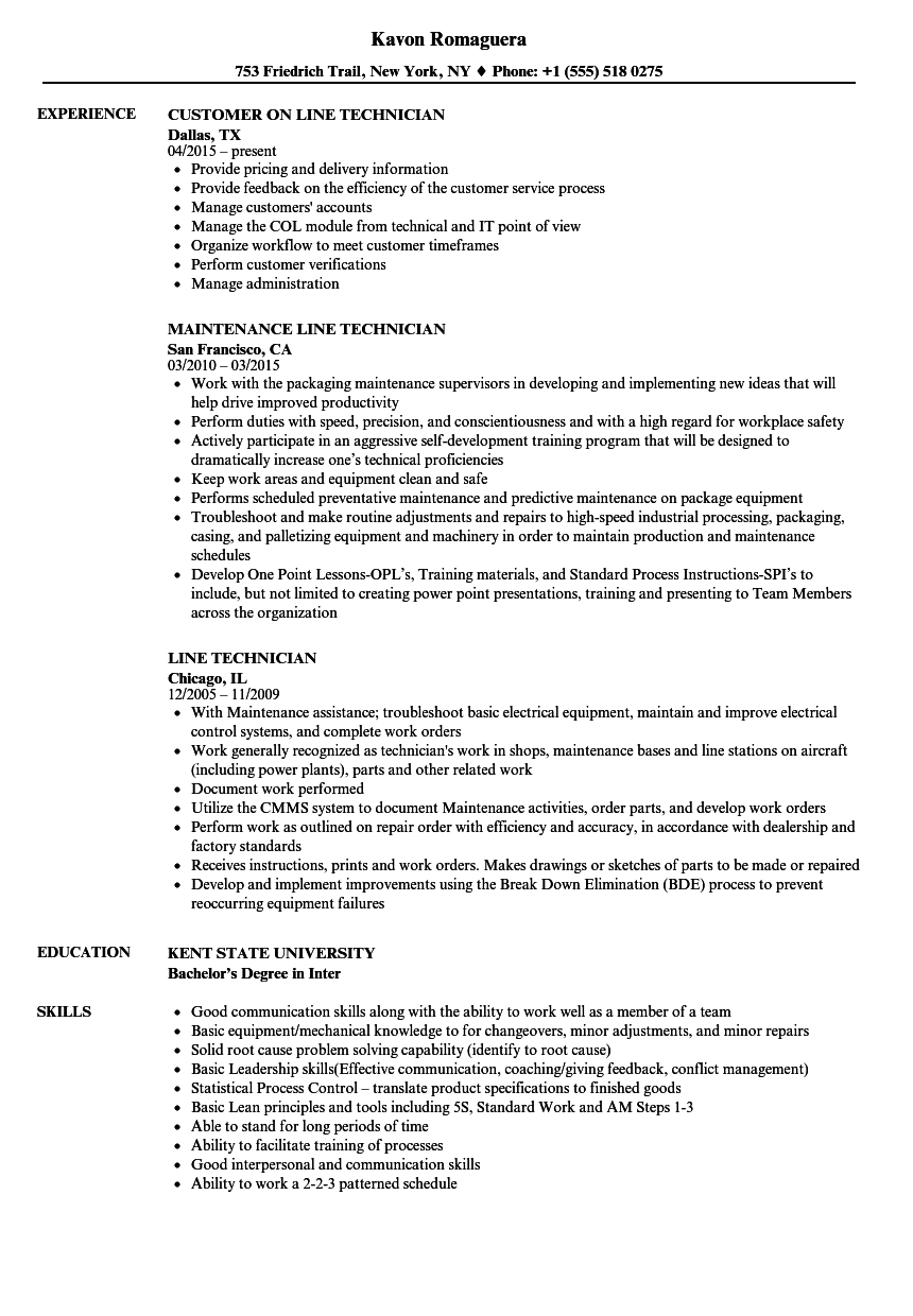 line technician resume samples