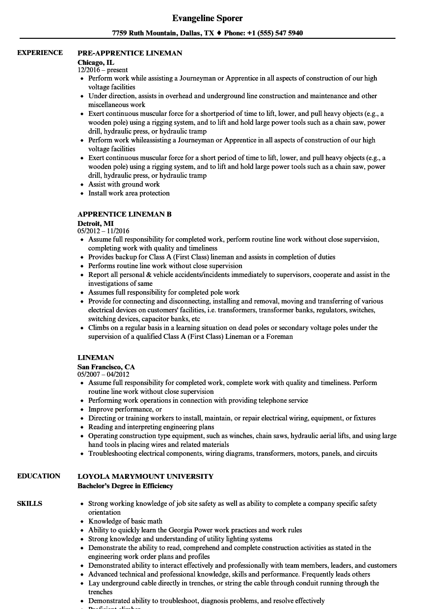 lineman resume samples
