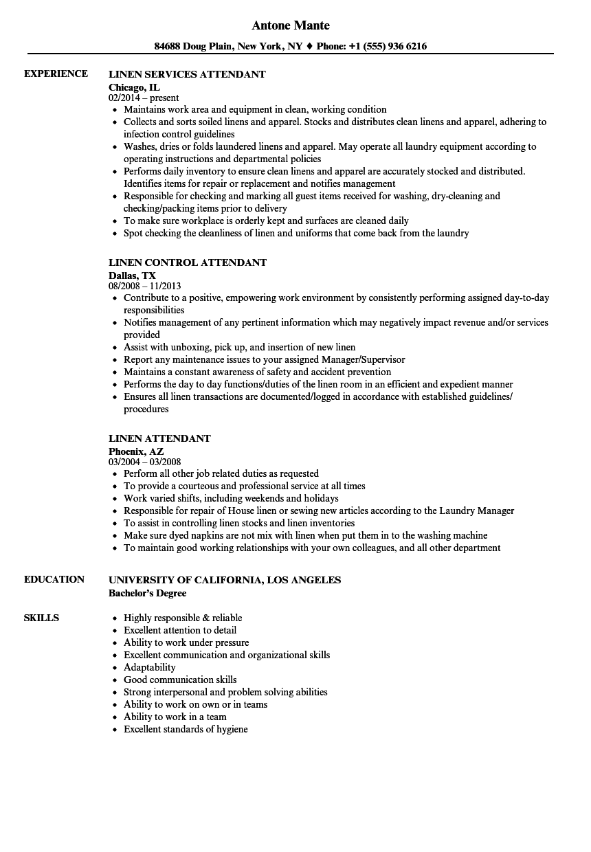 service linen supply resume