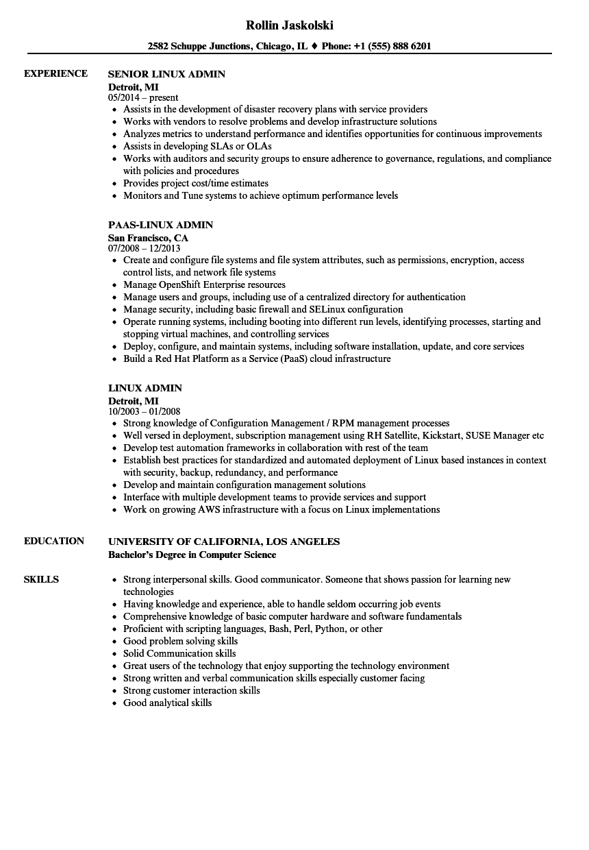 Linux Admin Resume Samples | Velvet Jobs