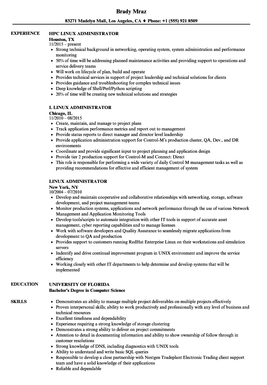 Linux Administrator Resume Samples | Velvet Jobs