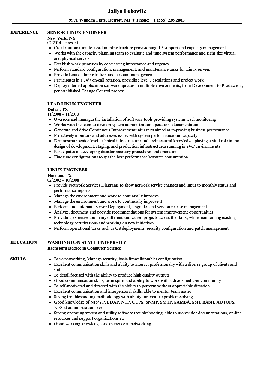 linux engineer resume samples