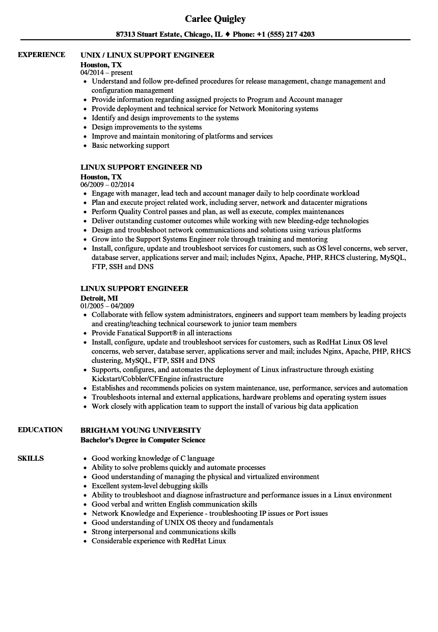 linux support engineer resume samples