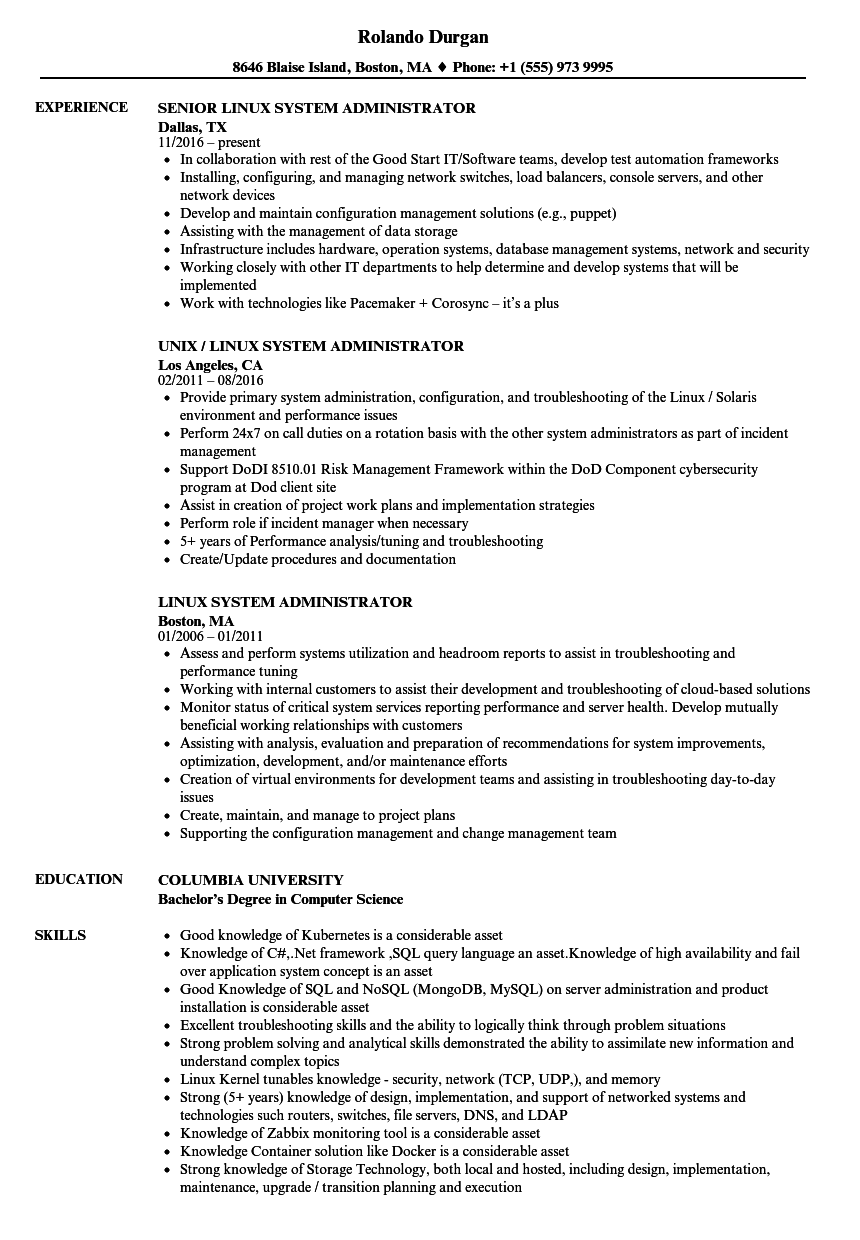 download linux system administrator resume sample as image file - Linux Administrator Resume