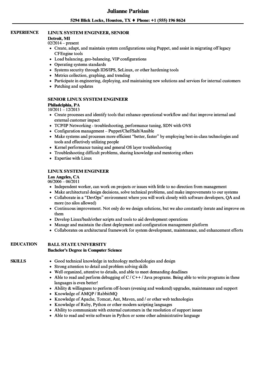 Linux System Engineer Resume Samples | Velvet Jobs