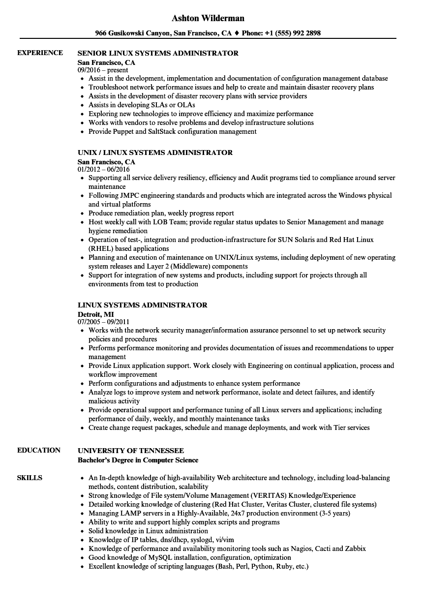 download linux systems administrator resume sample as image file - Linux Administrator Resume