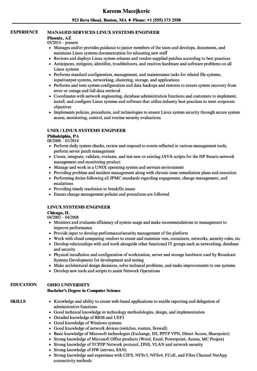 linux systems engineer resume samples