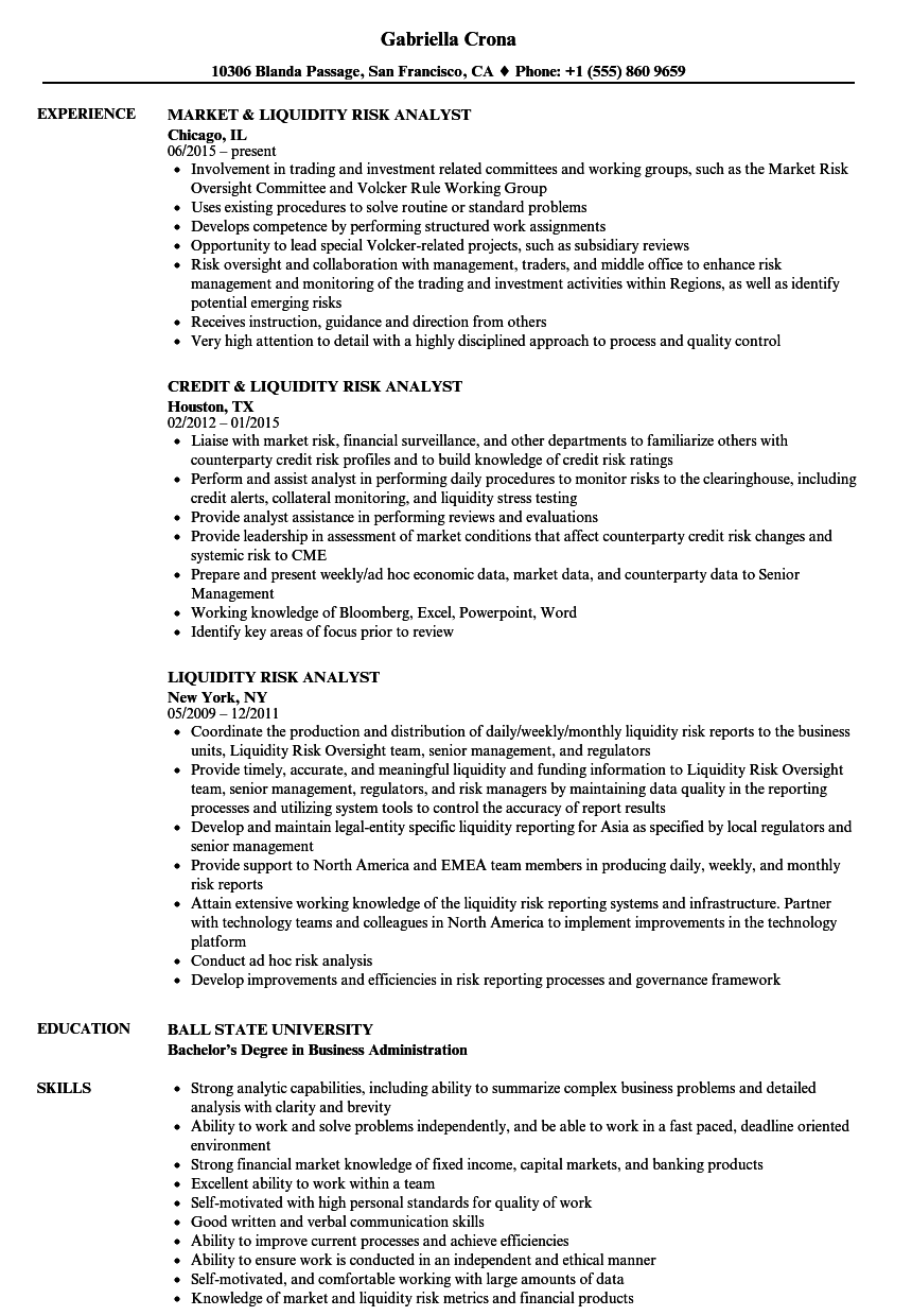 liquidity risk analyst resume samples