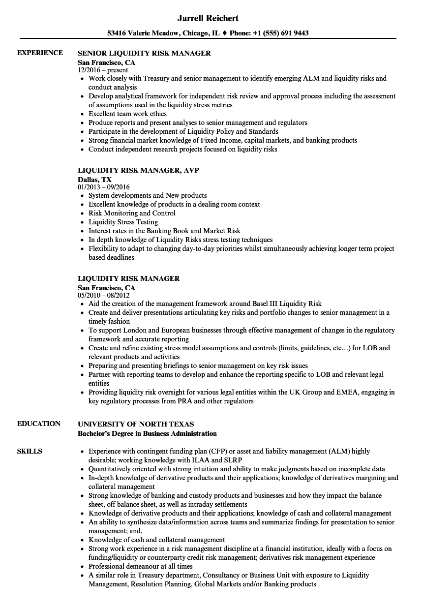 liquidity risk manager resume samples