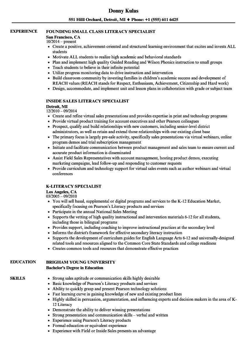 literacy specialist resume samples