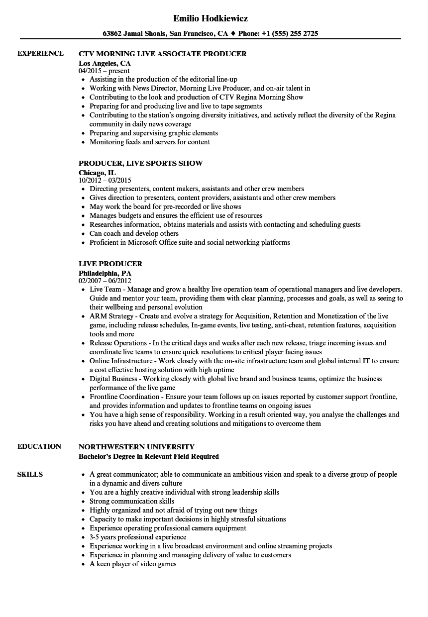resume Resume Live live producer resume samples velvet jobs download sample as image file