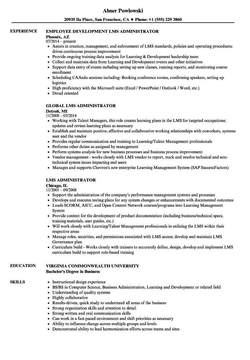 lms administrator resume samples