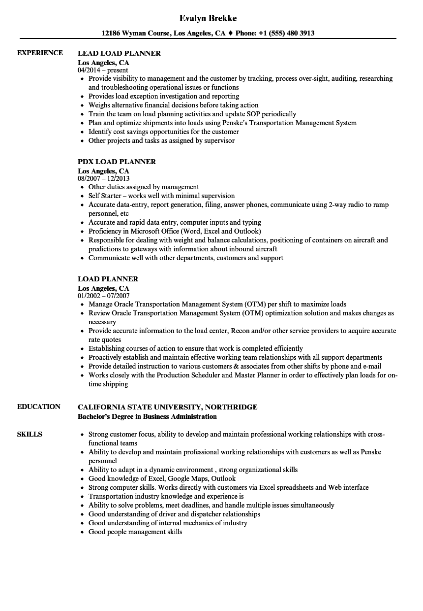 Load Planner Resume Samples Velvet Jobs