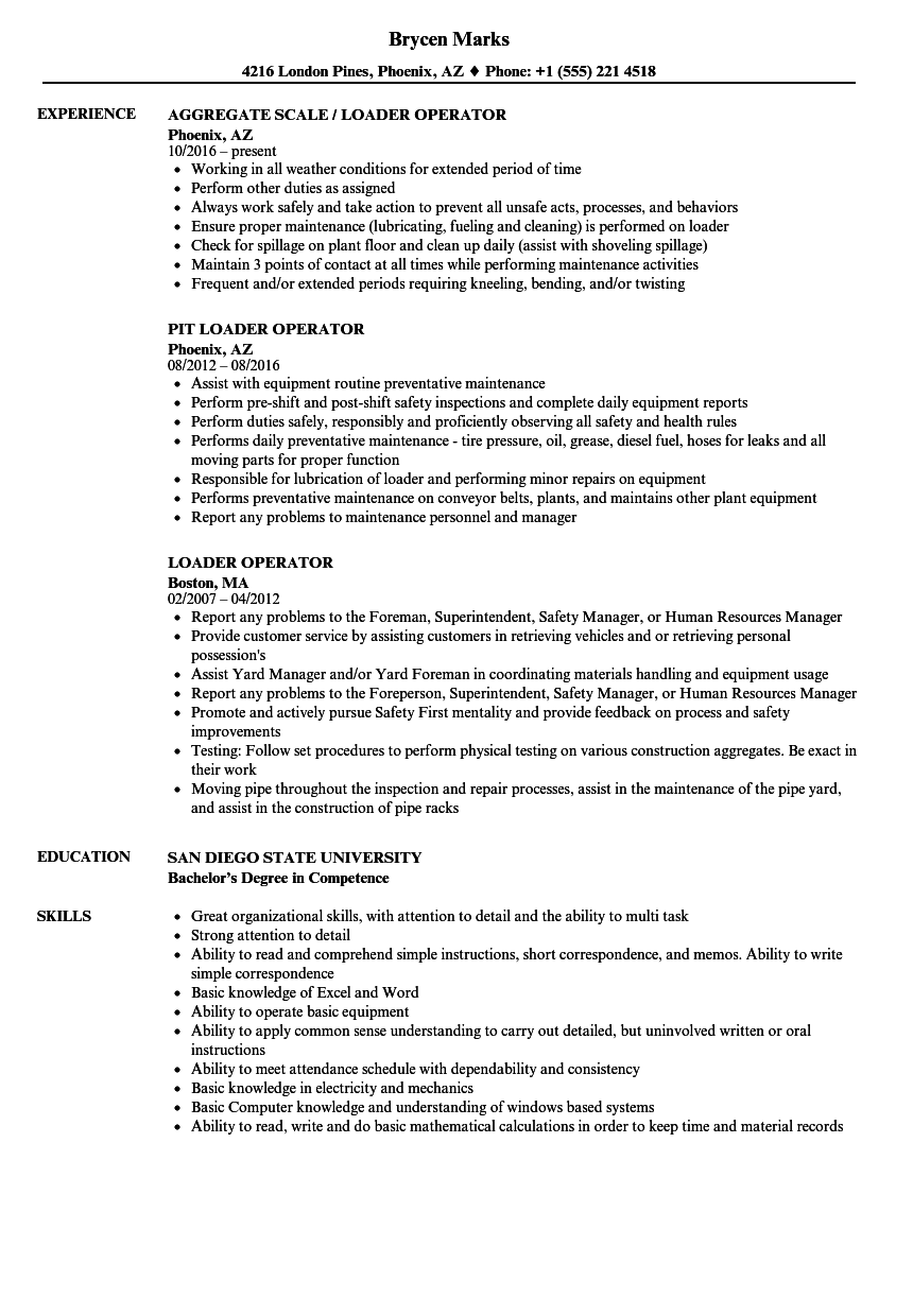 loader operator resume samples velvet jobs