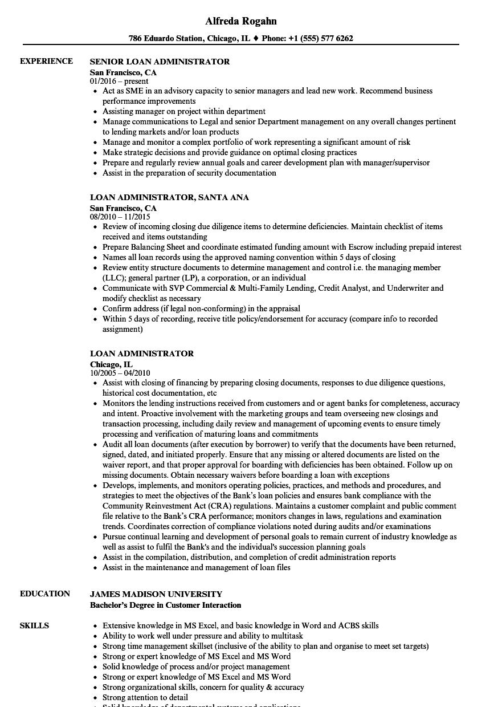 loan administrator resume samples