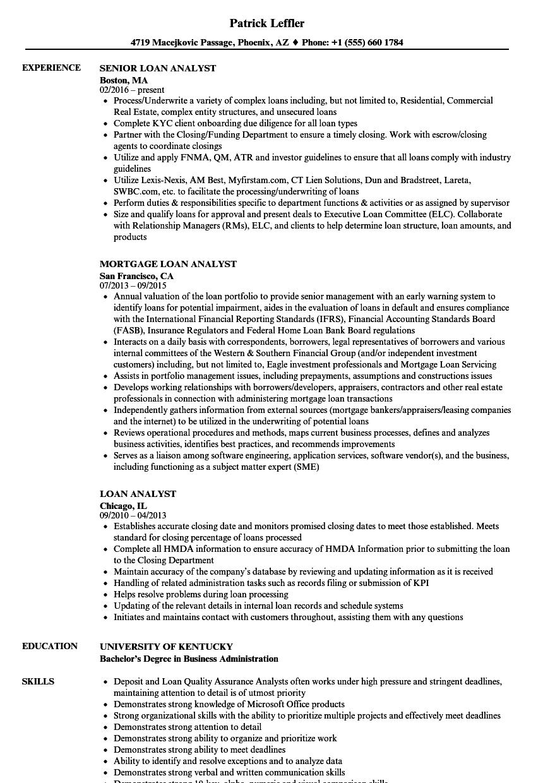 Loan Analyst Resume Samples | Velvet Jobs