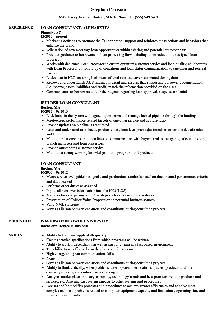 Loan Consultant Resume Samples Velvet Jobs