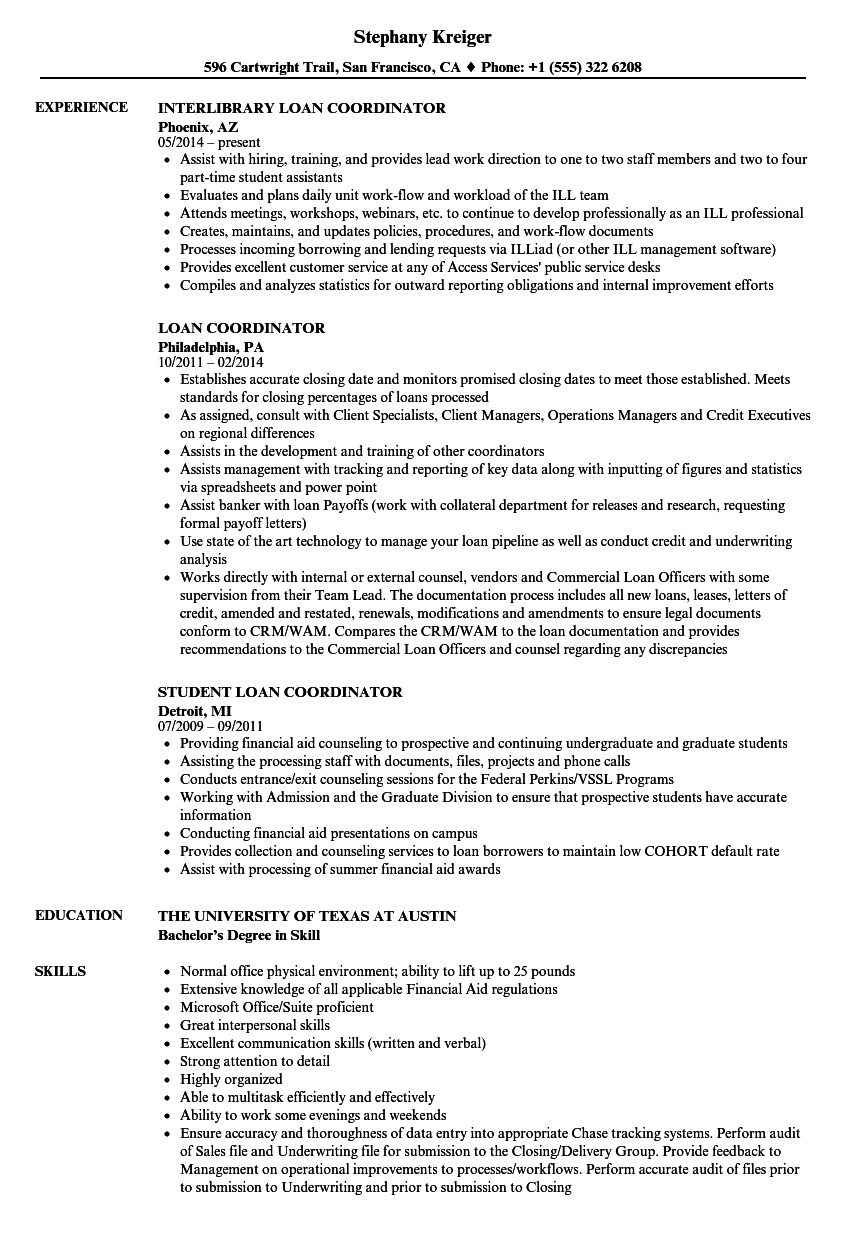 loan coordinator resume samples