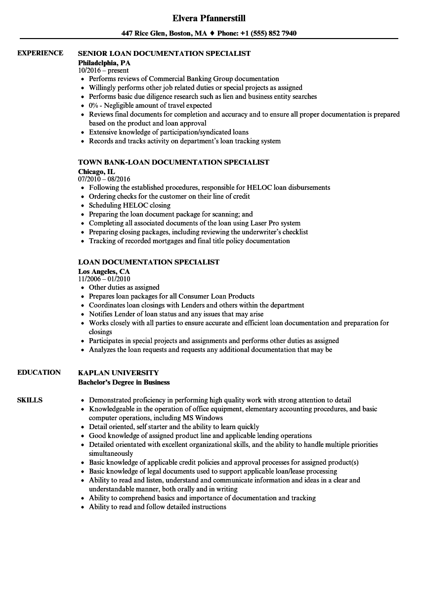 Loan Documentation Specialist Resume Samples Velvet Jobs
