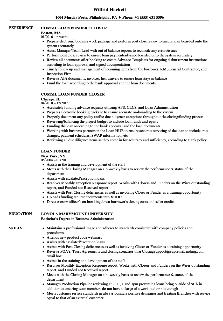 Loan funder resume
