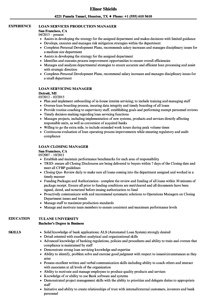 loan manager resume samples