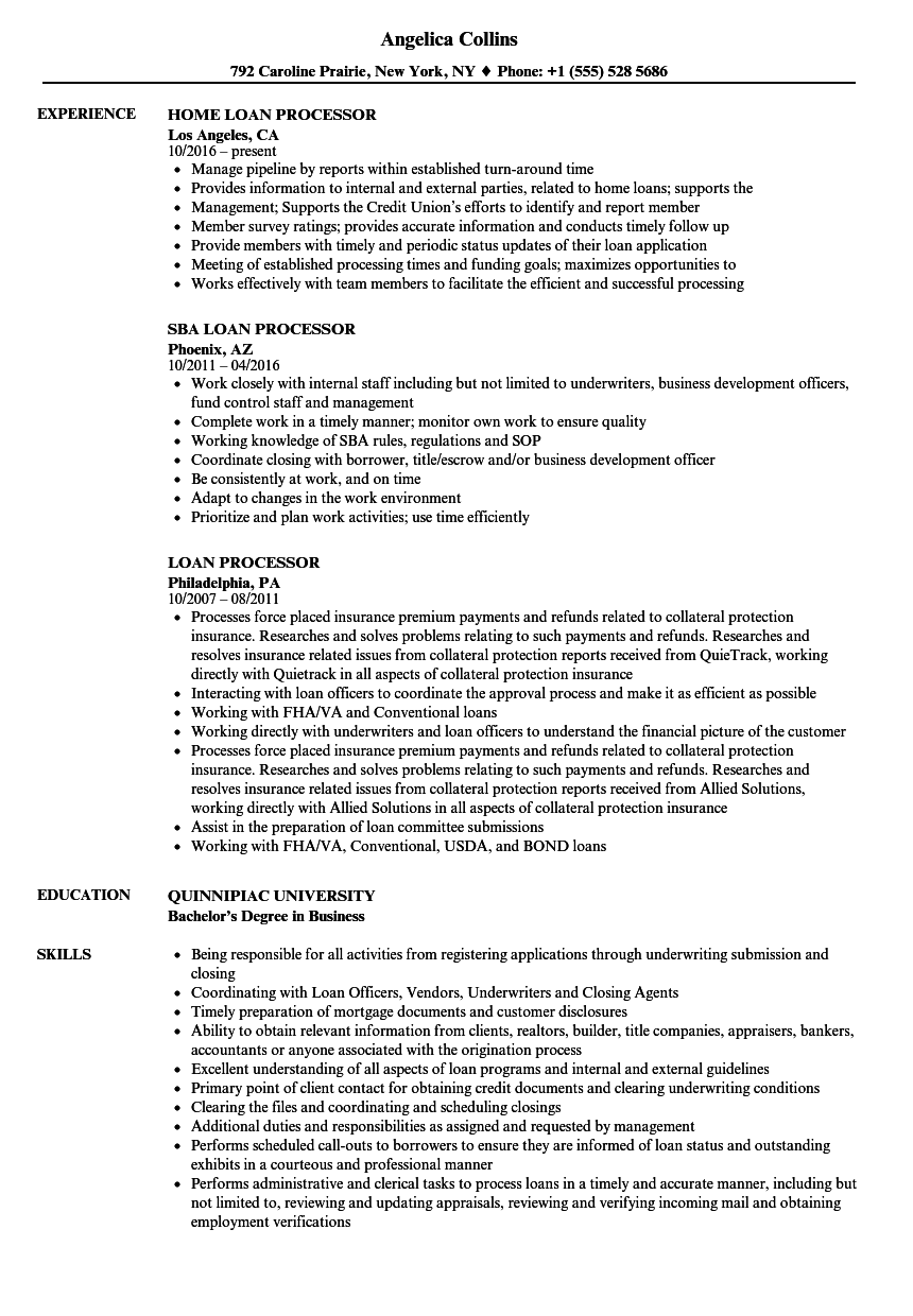 loan processor resume samples