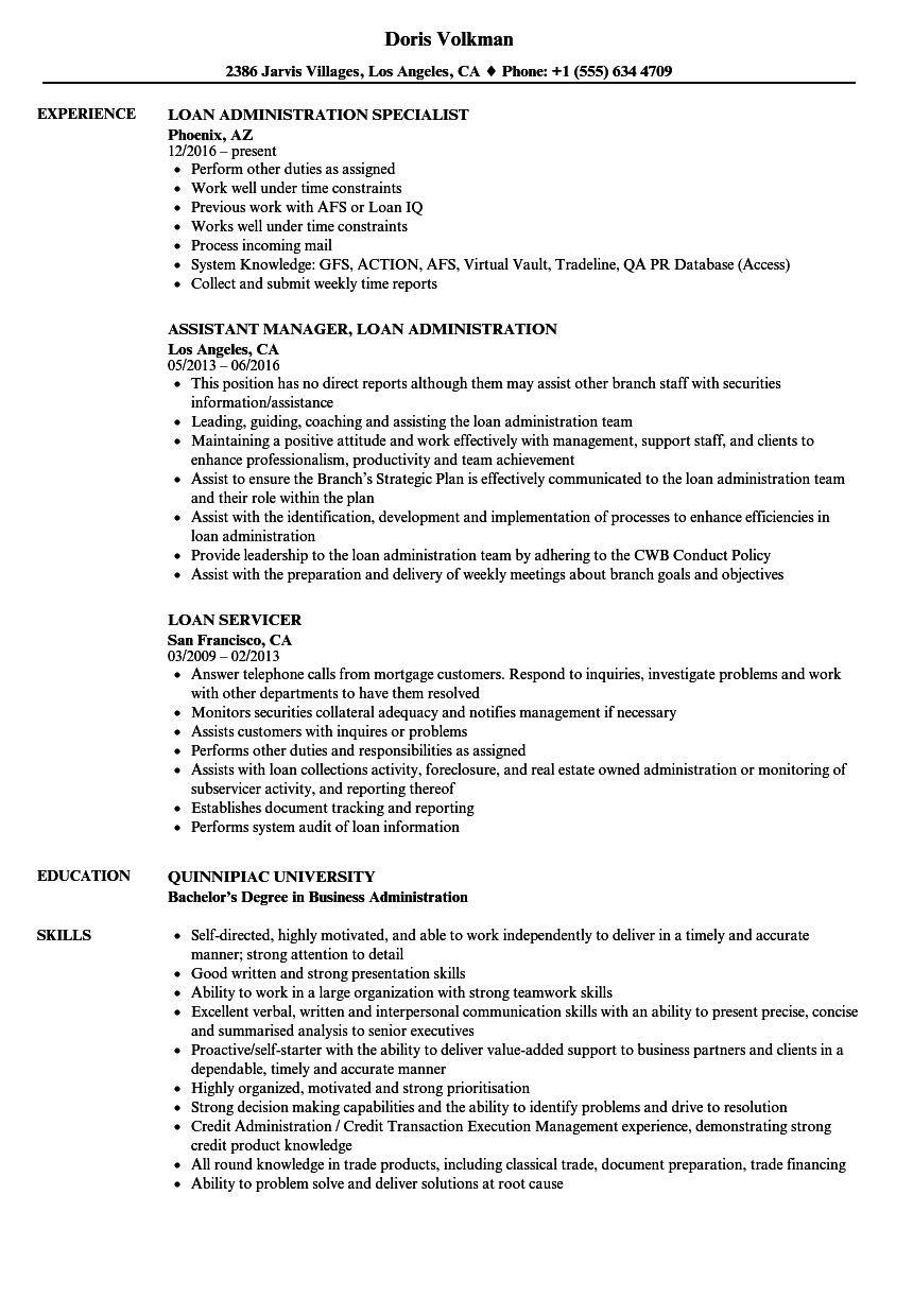 Loan Resume Samples | Velvet Jobs