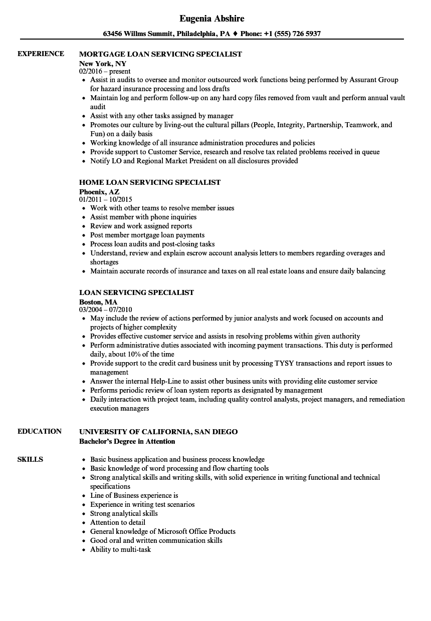 Loan Servicing Specialist Resume Samples Velvet Jobs