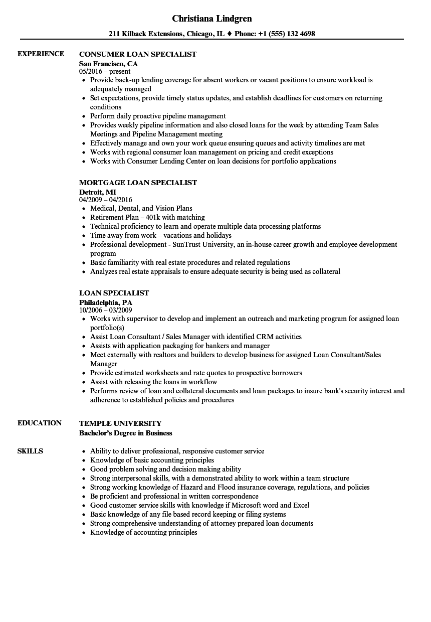 loan specialist resume