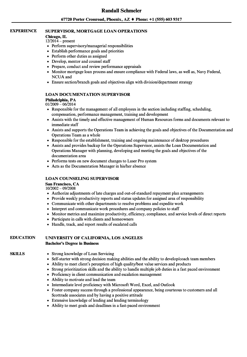 Download Loan Supervisor Resume Sample As Image File
