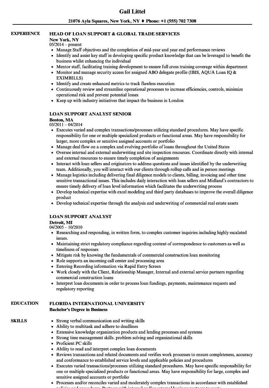 loan support resume samples velvet jobs