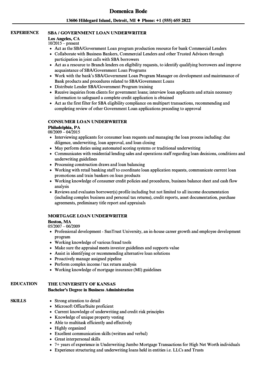 Download Loan Underwriter Resume Sample As Image File