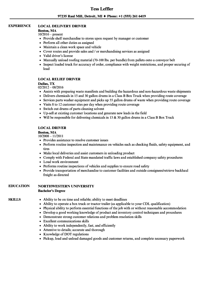 local driver resume samples