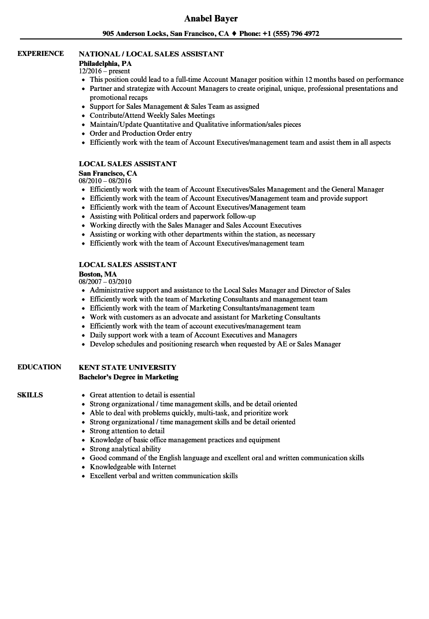 local sales assistant resume samples