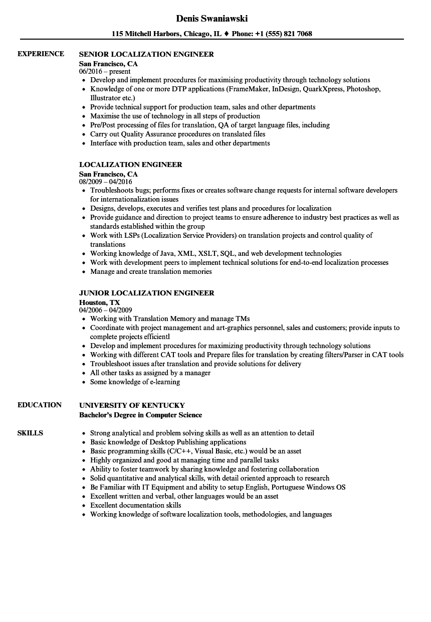 localization engineer resume samples velvet jobs