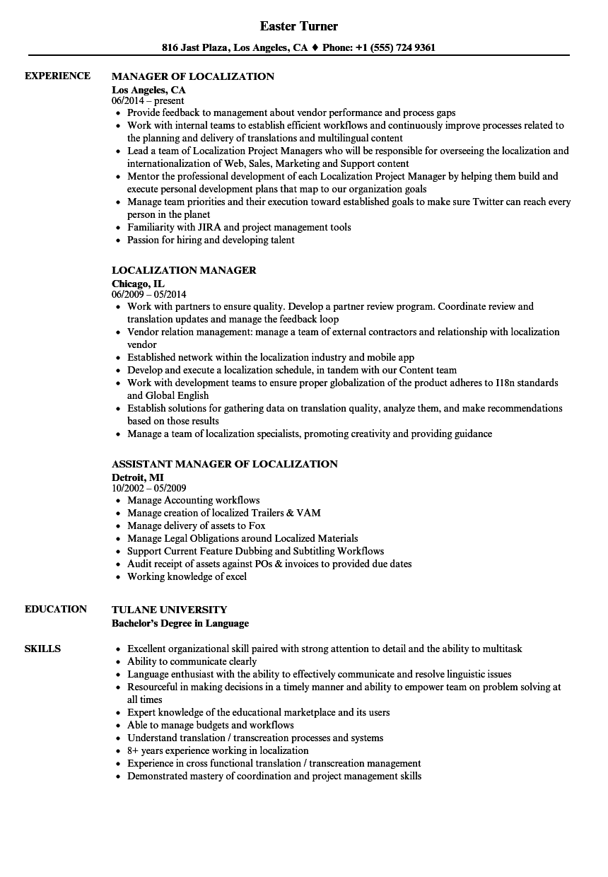 Localization Manager Resume Samples   Velvet Jobs