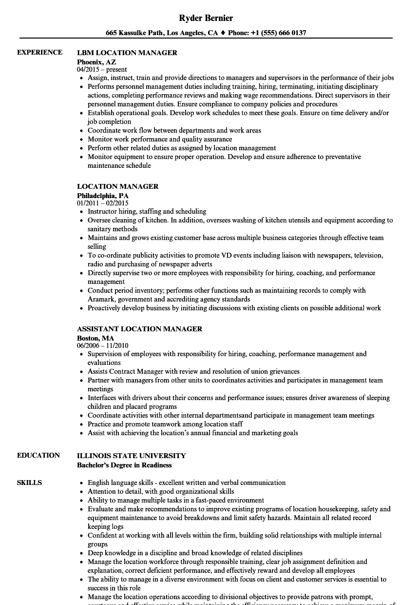 Location Manager Resume Samples | Velvet Jobs