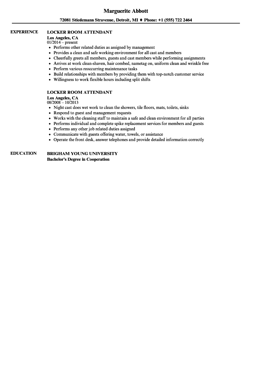 Locker Room Attendant Resume Samples Velvet Jobs