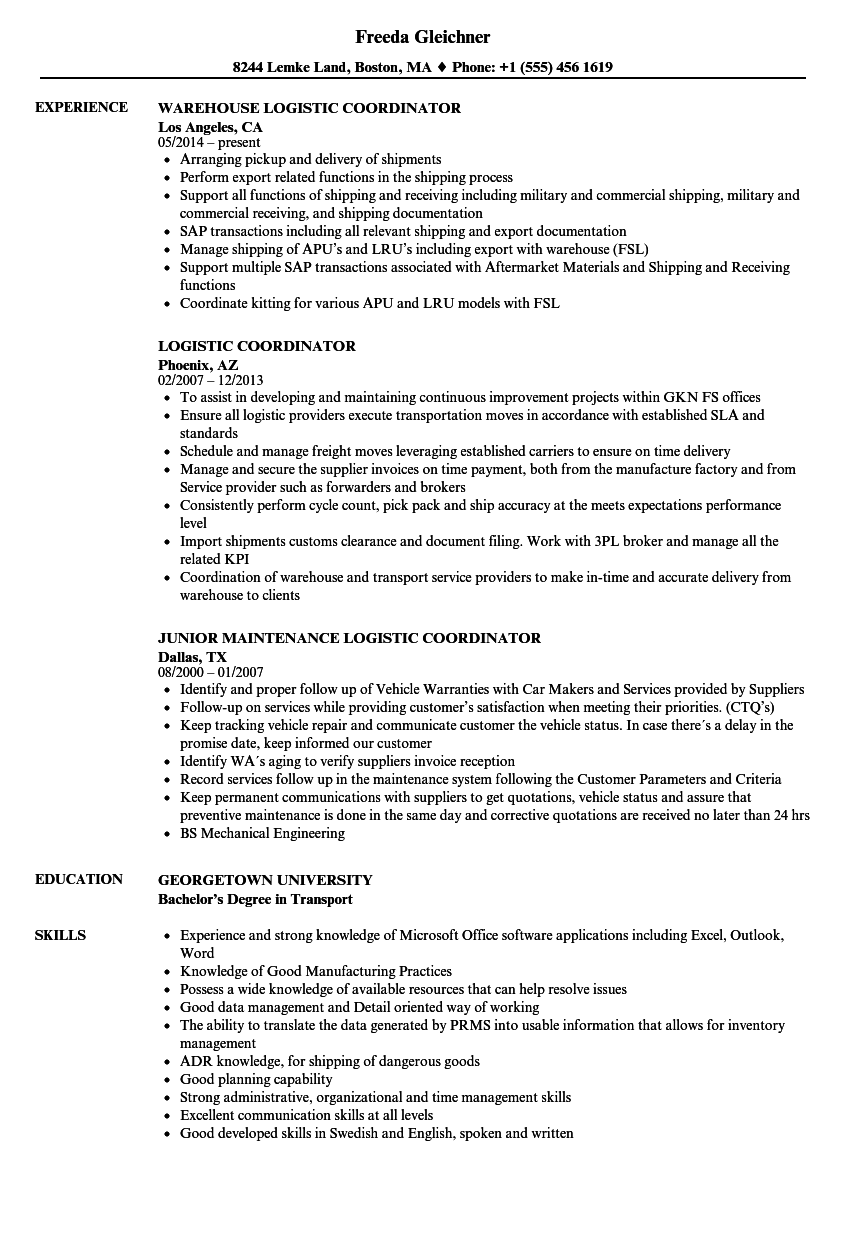 logistic coordinator resume samples