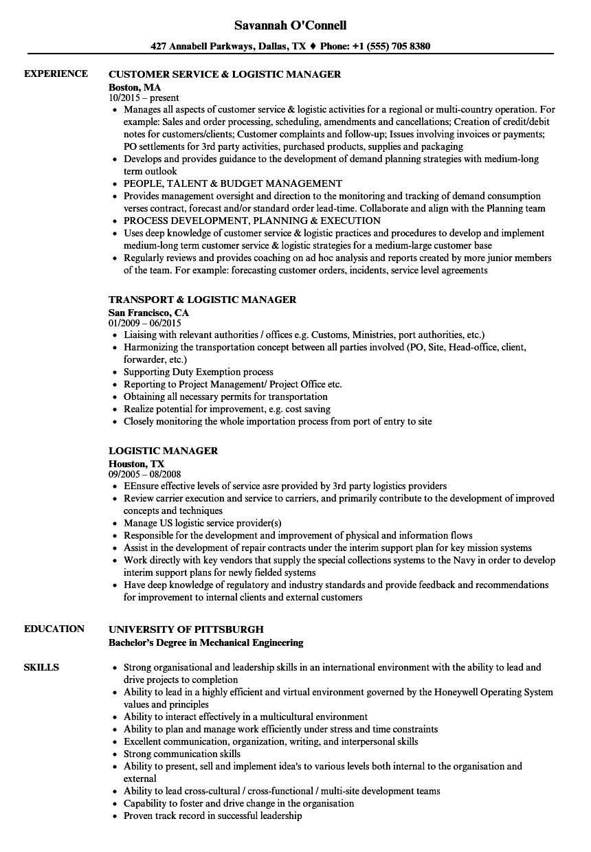 Logistic Manager Resume Samples | Velvet Jobs